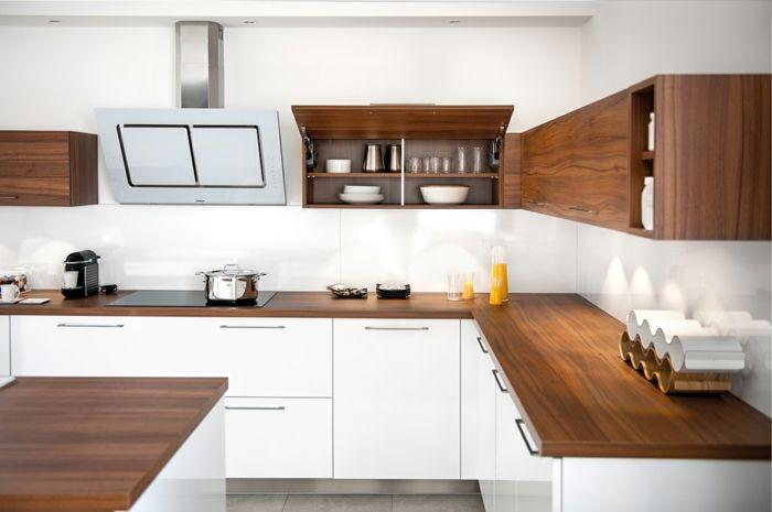 einbauküche kaufen weisse unterschränke arbeitsplatte dunkles holz nussbaum