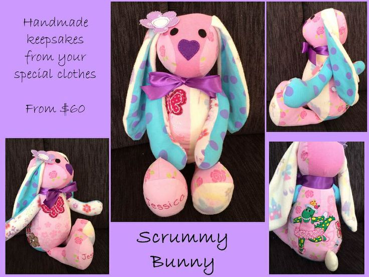 Keepsakes made from your special baby and children's clothes. www.facebook.com/Scrummy.bunny123