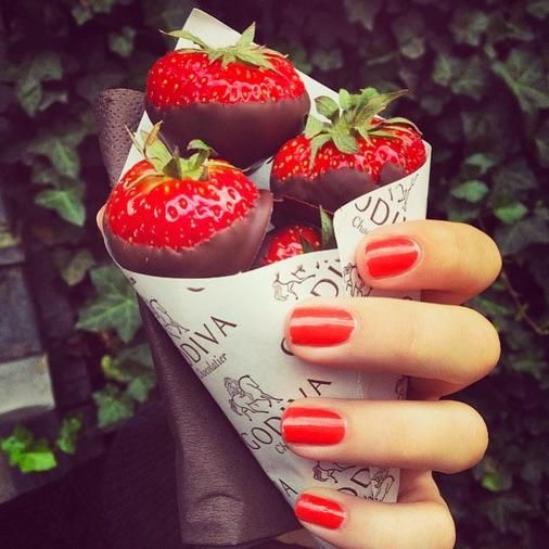 Strawberries dipped in chocolate. Delicious