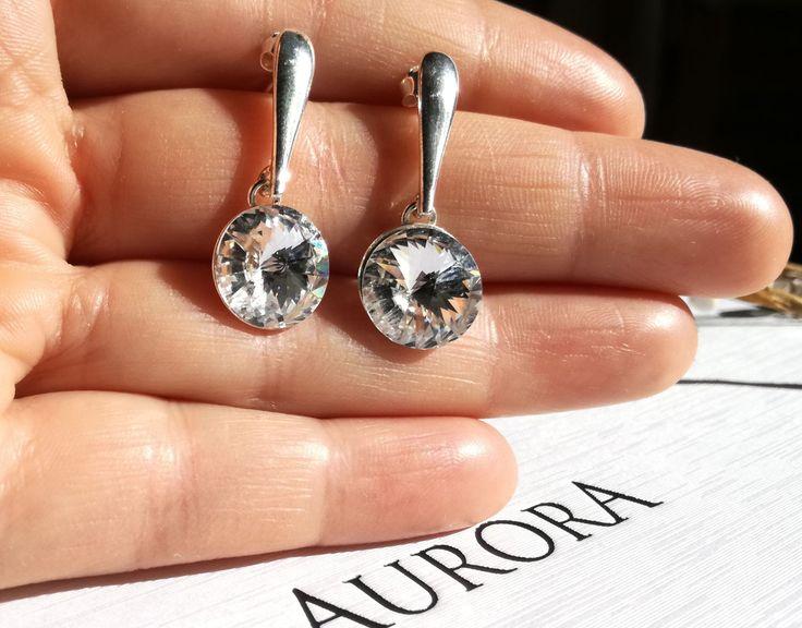 Swarovski crystal earrings Wedding jewelry Long Stud Earrings Classic Stud Earrings 12mm Clear Crystal Swarovski Round Studs, Chaton Studs, by AuroraCrystalPassion on Etsy