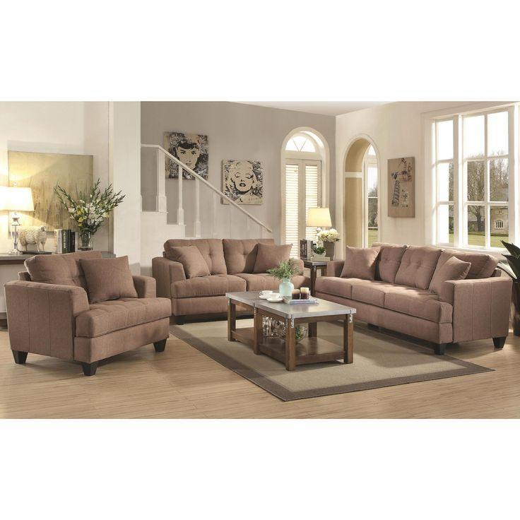 Frankfurt Modern Tufted Design Mocha Living Room Sofa Collection (1 Sofa, 1 Loveseat, 1 Chair), Brown