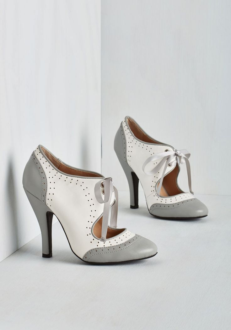 Poised for Perfection Heel in Pebble. Feel as flawless outside as in when you don these beautiful Victorian-inspired heels from Mojo Moxy. #grey #modcloth