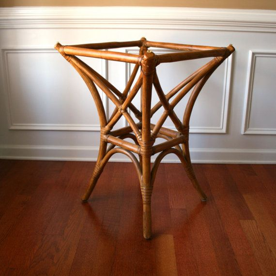 Faux Bamboo Table Base Rattan Cane Bentwood Bohemian Home