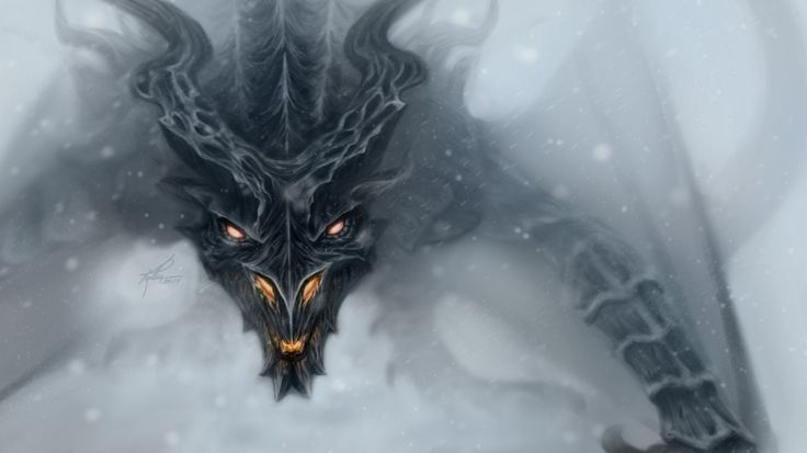 1366x768 Wallpaper dragon, alduin, skyrim, art