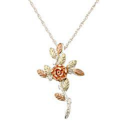 Black Hills Gold over Silver Rose Cross Necklace