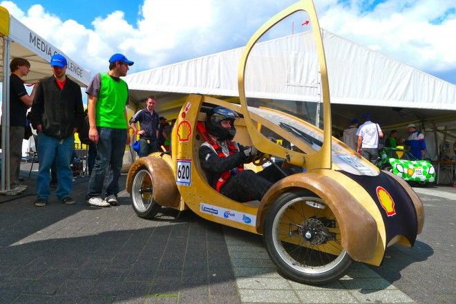 Winner of the Eco-Design award at Shell's 2012 Eco-Marathon in the Netherlands.  This Hydrogen car is made of cardboard, plywood, and a bit of metal.