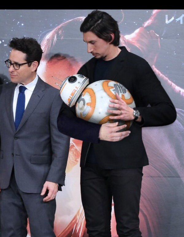 "BB-8 & Kylo Ren << He's always got that angsty look on his face and it's kinda adorable. Like ""Why am I holding you you're insanely heavy!"" ""Beep!"""