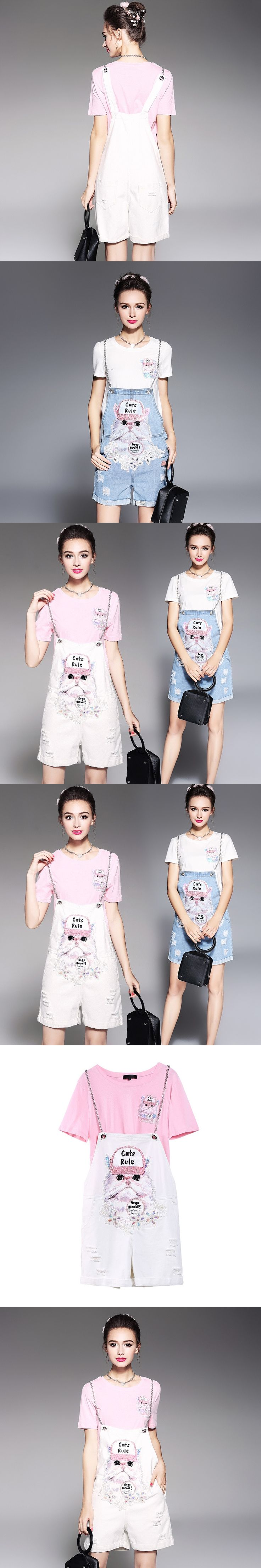 Casual Women 2 piece Set New Summer Beaded T shirt Tops And Printed Cat Denim Rompers Jumpsuits Sets For Ladies RY5623T