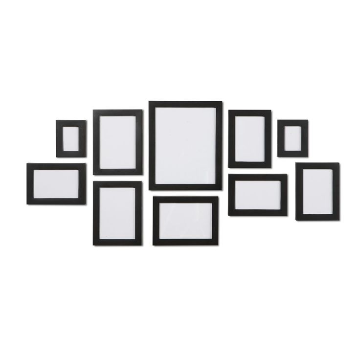 Black 10 piece multi collage picture photo frame frames for Multi frame wall art