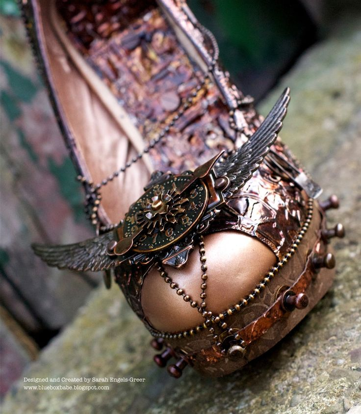 Alternative Glass Slipper: Steampunk embellished shoe-art by Sarah at La-de-dah. ... It's hard to choose which shot to PIN -- this piece looks fabulous in all of them!