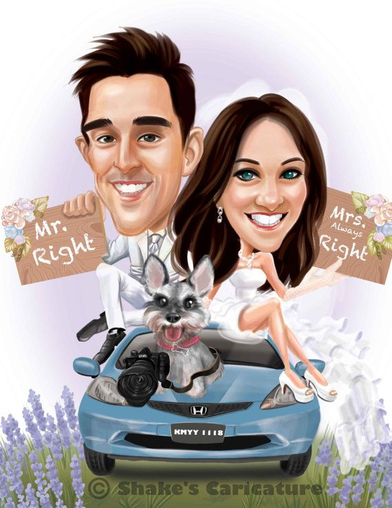 Custom Personalized Wedding Cartoon Portrait Caricatures Save the Date Cards Wedding Invitations Unique Gift Guest Board