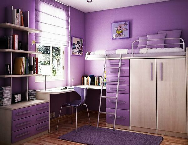 Jugendzimmer Mädchen Lila Wandgestaltung Stockbett Schreibtisch
