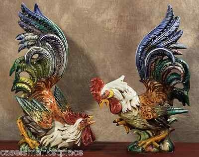 Set of 2 Ceramic Fighting Rooster Figurines Statues Hand Made in Italy