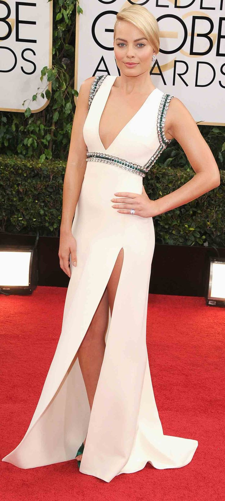 Margot Robbie went for this sexy white number on the Golden Globes red carpet