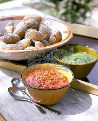 Canarian, small salt crust potatoes with mojo sauces (Papas arrugadas con mojos)