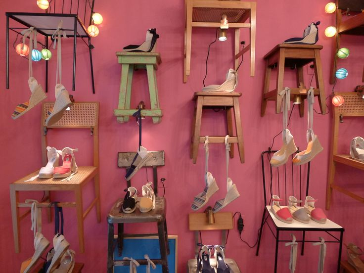 a bright little boutique that sells espadrilles and nothing else. prices vary according to heel heights, which range from flat to ten centimeters.