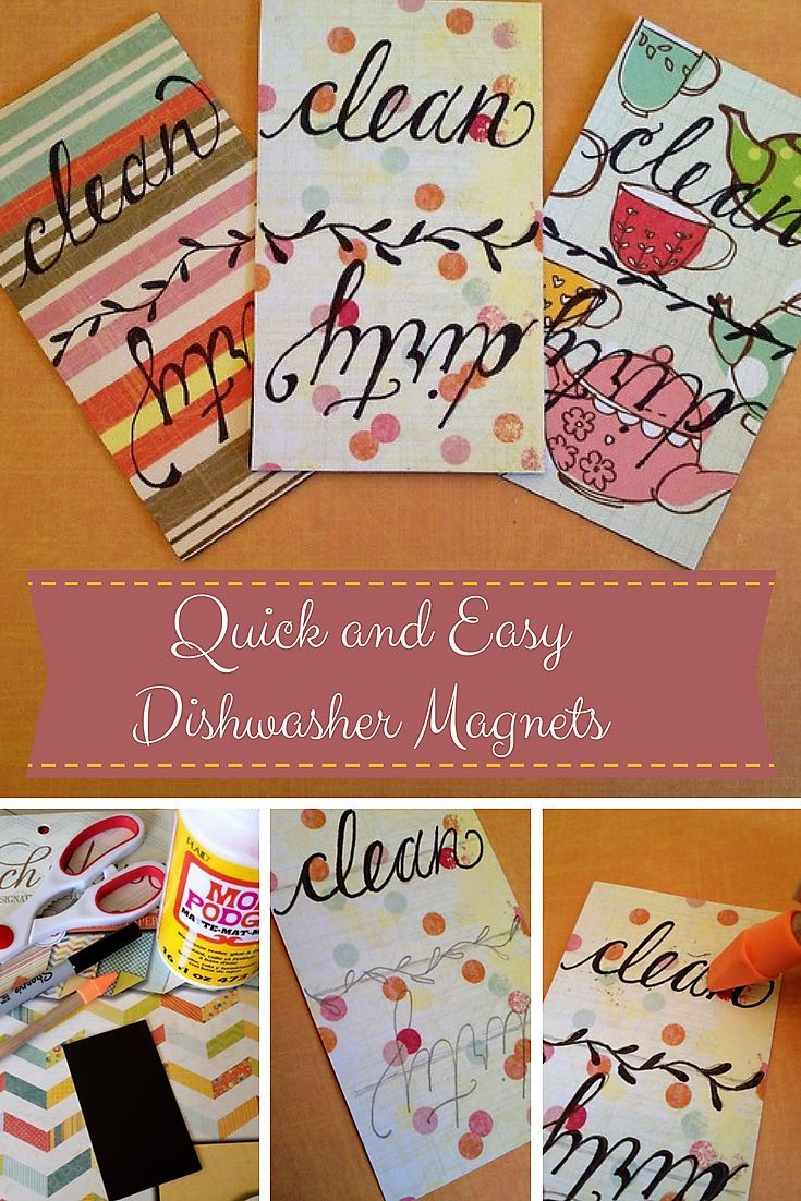 Quick and easy DIY clean or dirty Dishwasher magnet tutorial.