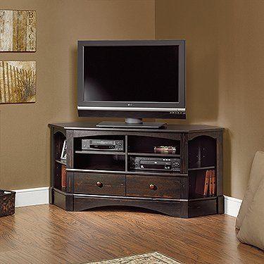 Amazon.com: Sauder Harbor View Corner TV Stand in Antiqued Paint: Furniture  u0026