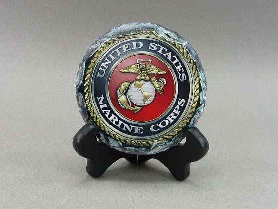USMC Marine Slate Desk Plaque Coaster Marines Promotion