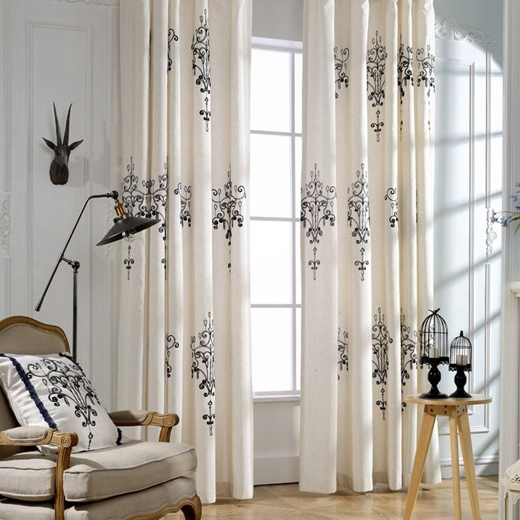 KoTing Home Fashion Classical Cream White Cotton Linen European Style Abstract Black Crystal Lamp Embroidery Thermal Insulated Blackout Lined Curtains Drapes Grommet Top,1 Panel,50 by 96-Inch