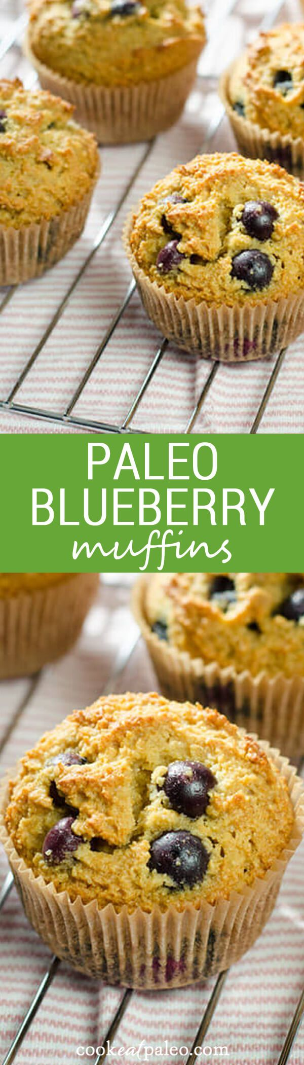 These paleo blueberry muffins are one of my favorite breakfasts. This recipe is gluten-free, grain-free, and easy to make ahead and freeze for the week. via @cookeatpaleo