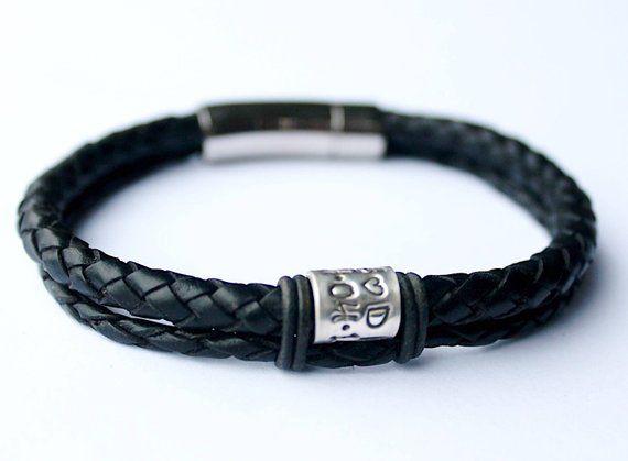 Mens leather bracelet Mens Personalised Leather Bracelet Double 6mm Braided Leather Bracelet and Personalised Silver Name Bead Bracelet