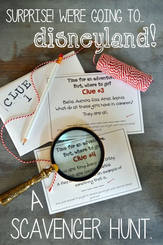 disneyland. they don't know. scavenger hunt. {free} printable with clues.
