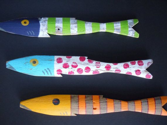 Set of 3 Whimsical Fish Art Hand Painted by CottageToCabin on Etsy, $70.00