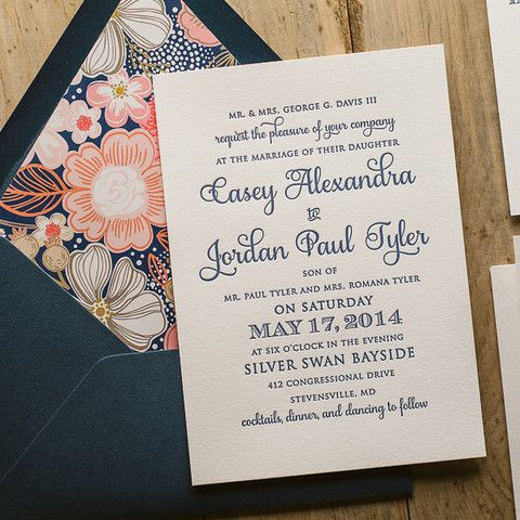 CASEY Suite Cutie Package, Navy and coral wedding invitations, letterpress wedding invitations, floral envelope liners