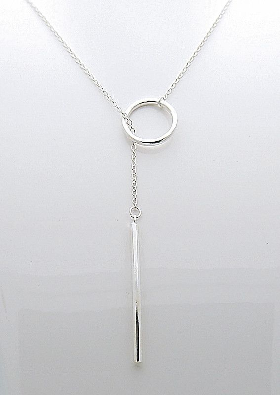 - Sterling Silver - 15.5mm Circle - 37mm Long Bar - Spring Ring Clasp