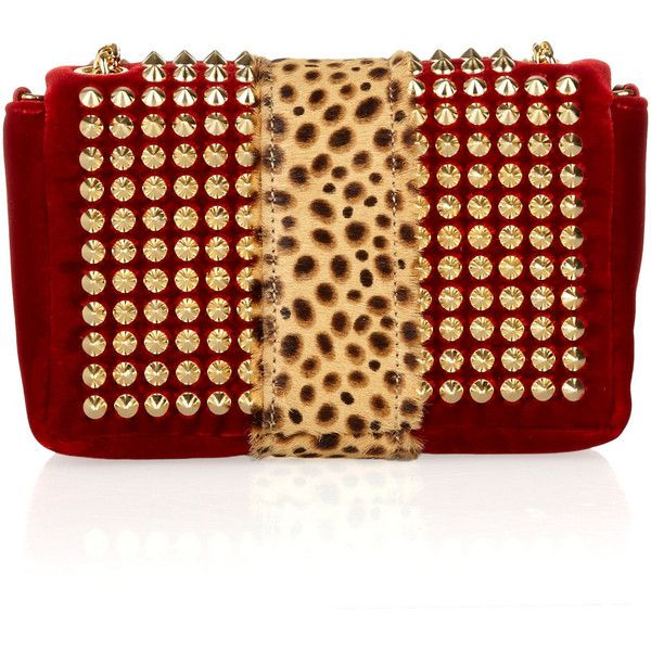 Christian Louboutin Sweet Charity Spiked Velvet and Calf Hair Shoulder Bag
