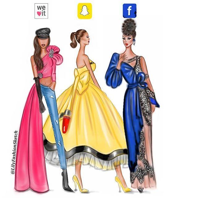 Social media girls in @moschino @itsjeremyscott ❤ by #LilyFashionSketch…
