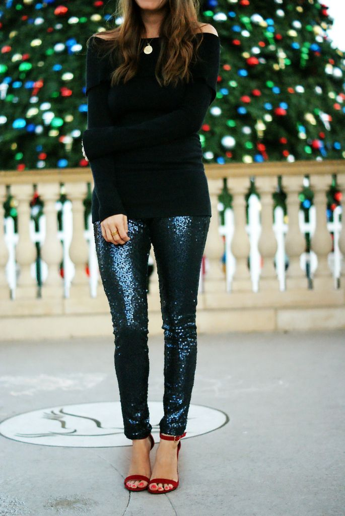 New Year's Eve outfit | sequin leggings + off the shoulder sweater