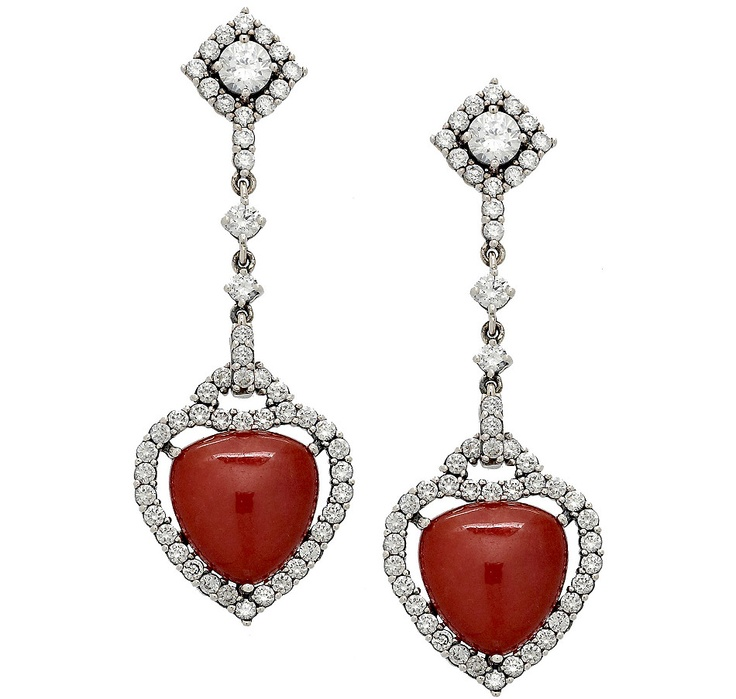 #ilovetoshop, Buy Jade of Yesteryear Red Jade & Clear Cubic Zirconia Sterling Silver Drop Earrings, Jade of Yesteryear and Drop Earrings from The Shopping Channel, Canada's home shopping network - Online Shopping for Canadians