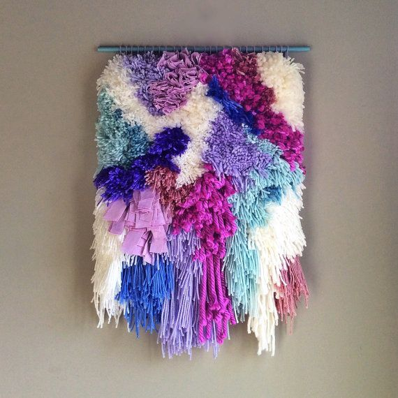 Woven wall hanging / Furry Electric Candy Fields // by jujujust