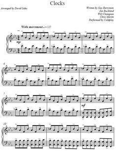 free+sheet+music+for+clocks   David Sides - Clocks (Coldplay Cover) Piano Sheet Music *Free Shipping ...