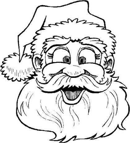 Dibujos para imprimir y colorear: Papá Noel - Simpática imagen de Papá Noel para colorear