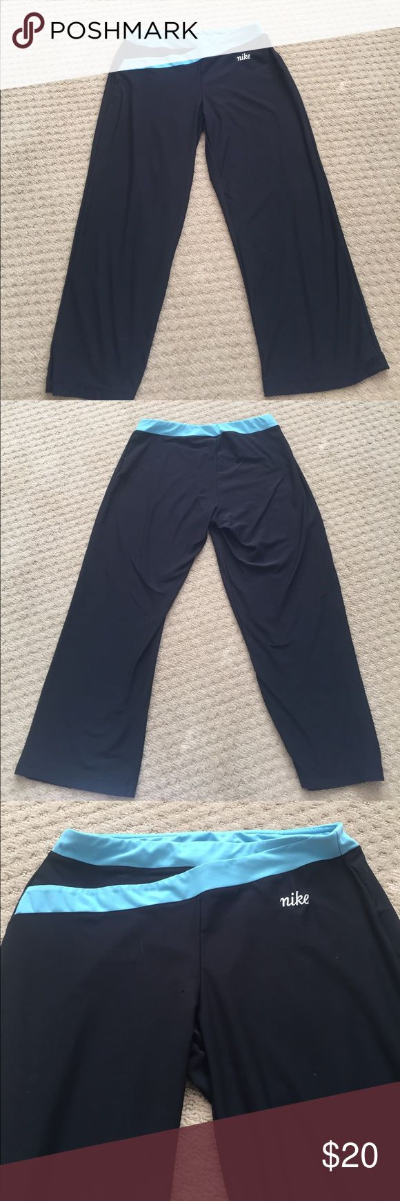 Nike Capri Workout pants Nike Capri workout pants. Great soft material. In good condition. Not a skinny leg but not wide either. It's an in between, comfortable leg. Nike Pants Capris
