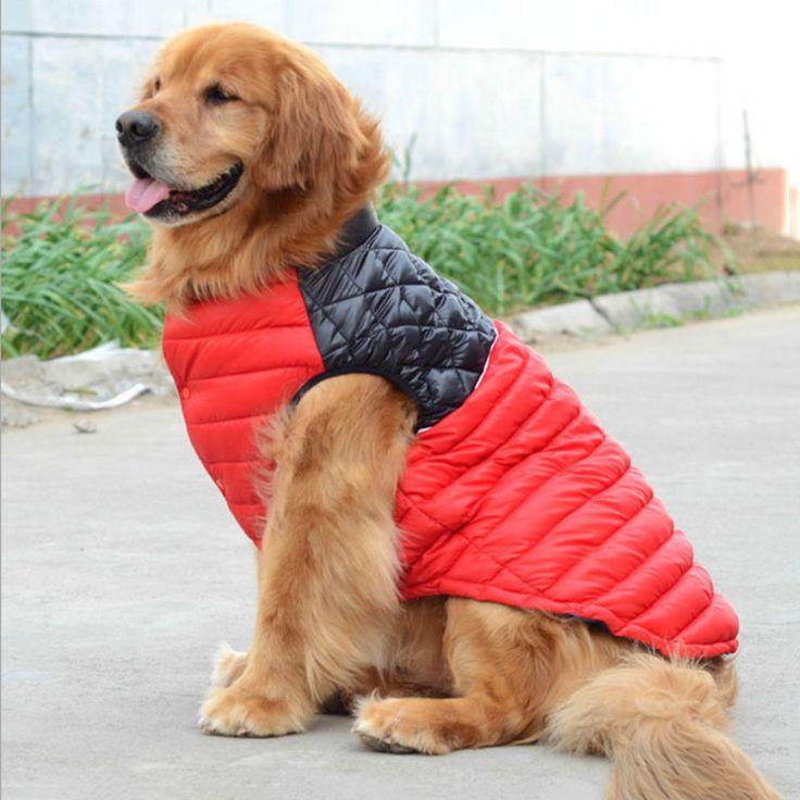 Мода!  Куртка 2 цвета Большая Собака одежды больших собак Pet Одежда Золотистый ретривер Сацума Сибирский хаски Хлопок-проложенный одежды