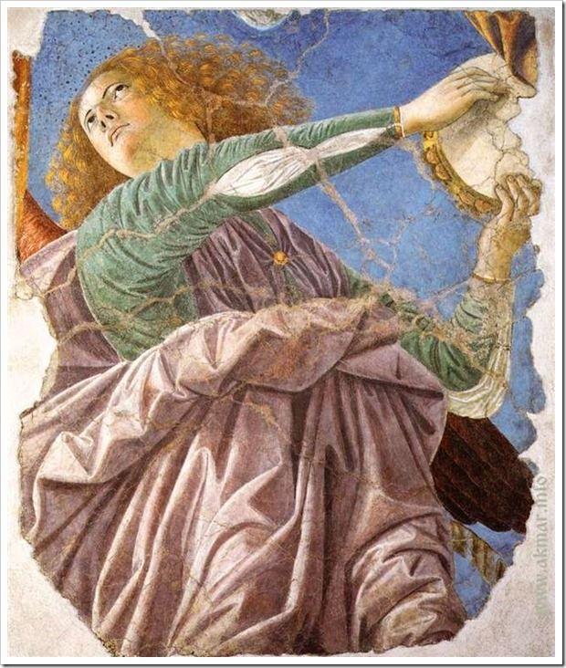 Melozzo_da_Forl_-_Angel_with_Tambourine. Ангел с бубном. Между 1480—1484. Пинакотека Ватикана. Ватикан