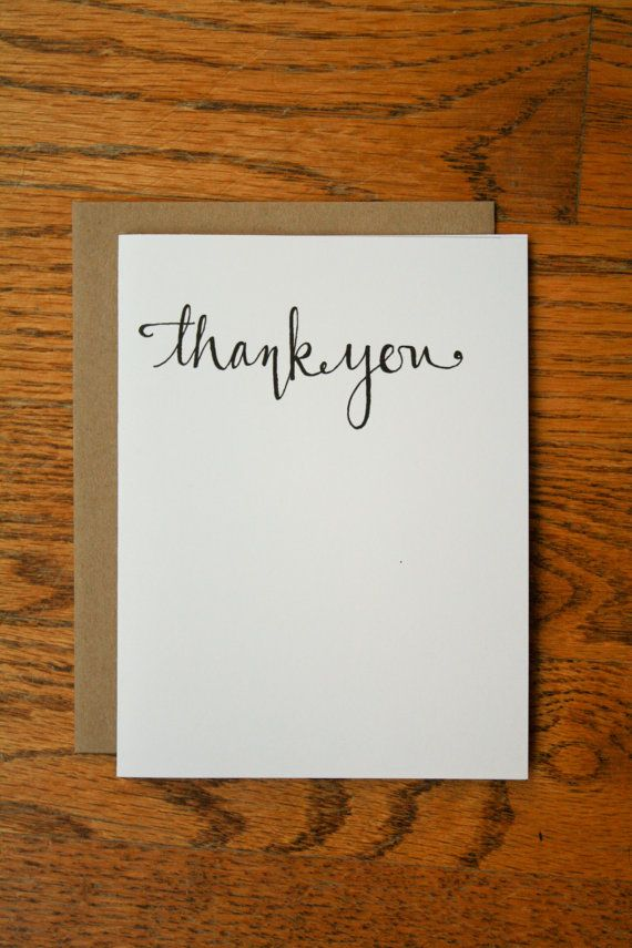 Thank You Hand Lettering Card By Laurafrancesdesigns On