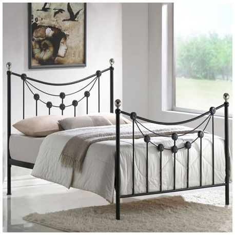 this double black metal bed is designed to a high quality and beautifully designed with straight and curved edge stylish features metal bed frames for any