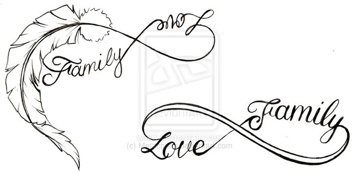 family tattoos designs | Feather Love and Family Infinity Symbol Tattoo by ~Metacharis on ...