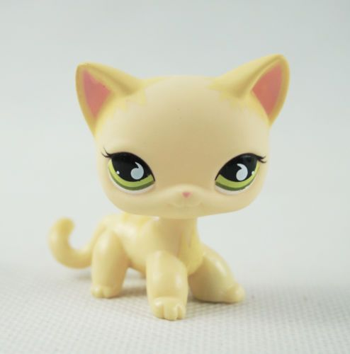 Littlest-Pet-Shop-LPS-Toys-733-Short-Hair-Cat-Yellow-amp-Cream-Kitty-Green-Eyes