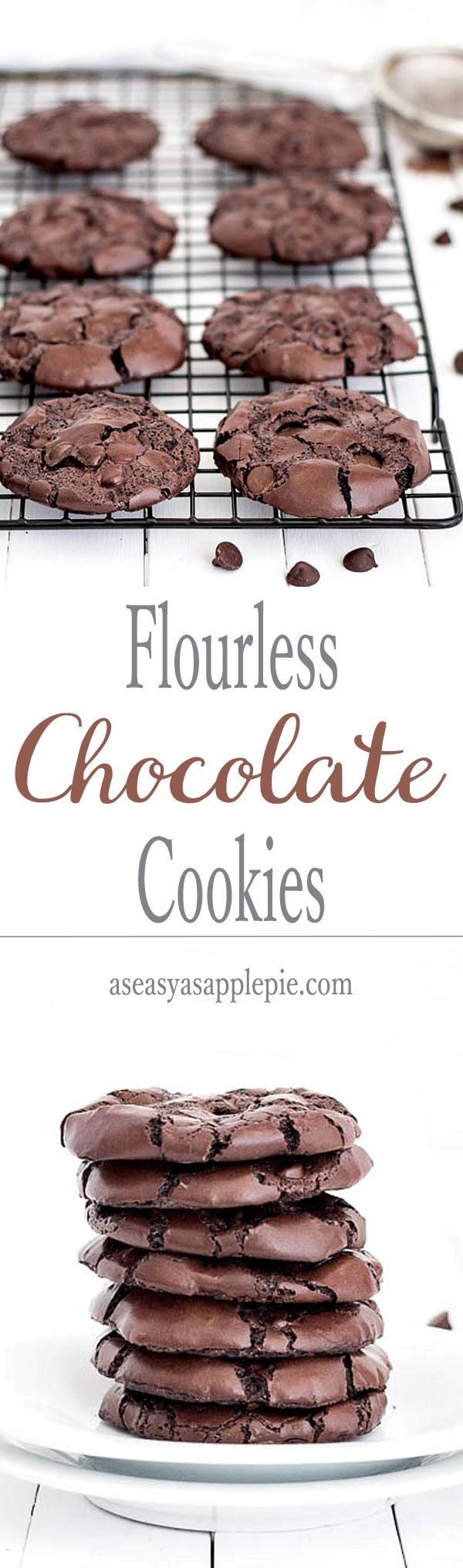 An easy recipe for flourless, no butter, gluten-free, chocolate cookies. They taste like a rich and fudgy brownie!