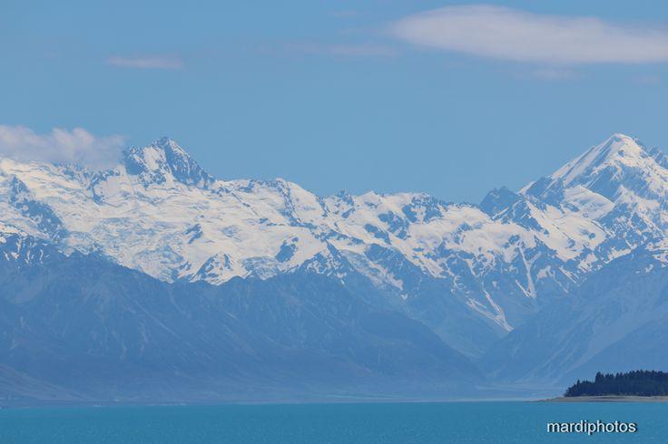 Mount Cook against the beautiful blue of Lake Pukaki