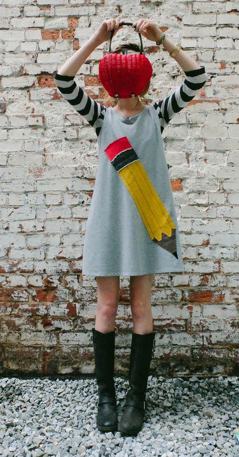Art Teacher style, Pencil dress, apple purse, Modcloth, target, h&M