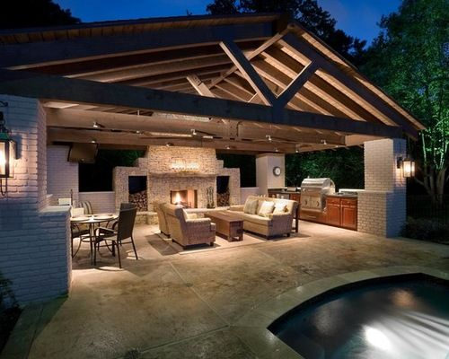 Pool house with outdoor kitchen farm house ideas Home plans with outdoor living