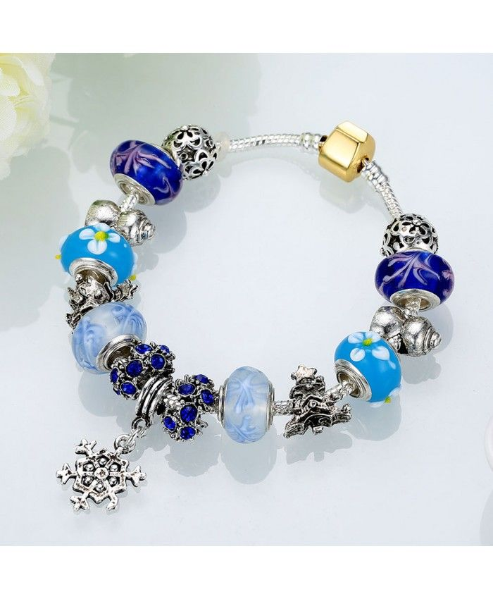 New Fashion Blue Murano Glass Beads Crystal Charm DIY Bracelet