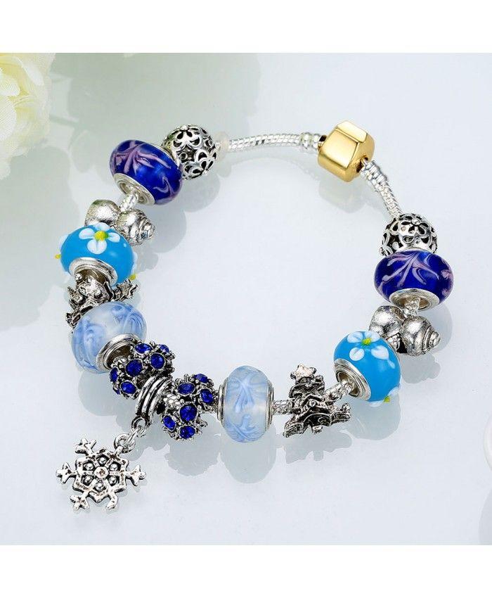 New Fashion Blue Murano Glass Beads Crystal Charm DIY Bracelet